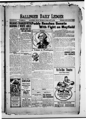 Ballinger Daily Ledger (Ballinger, Tex.), Vol. 17, No. 271, Ed. 1 Thursday, February 22, 1923