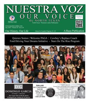Primary view of object titled 'Nuestra Voz De North Texas (Fort Worth, Tex.), Vol. 2, No. 20, Ed. 1, July 2015'.