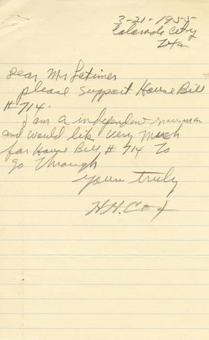 Primary view of object titled '[Letter from H. H. Cox to Truett Latimer, March 21, 1955]'.