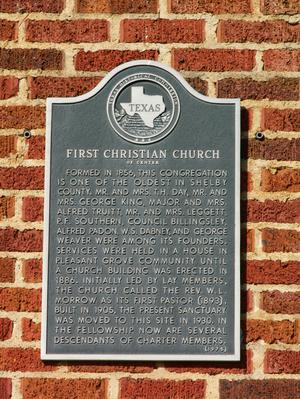 Primary view of object titled '[Plaque on First Christian Church]'.
