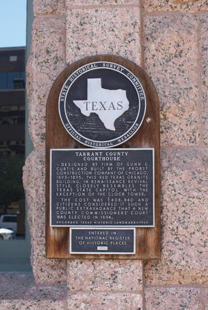 Primary view of object titled '[Plaque on Tarrant County Courthouse]'.
