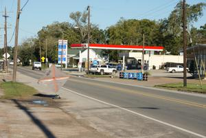 Primary view of object titled '[Exxon Gas Station]'.
