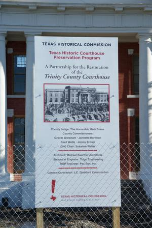 Primary view of object titled '[Sign in Front of Courthouse]'.