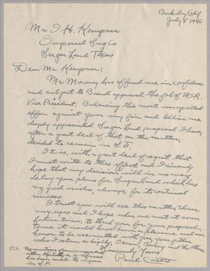 Primary view of object titled '[Letter from Paul B. Caster to I. H. Kempner, Jr., July 5, 1946]'.