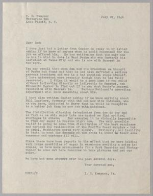 Primary view of object titled '[Letter from I. H. Kempner, Jr. to I. H. Kempner, July 24, 1946]'.