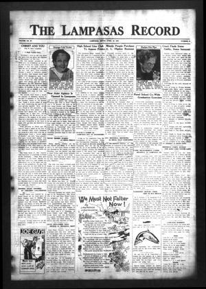 Primary view of The Lampasas Record (Lampasas, Tex.), Vol. 30, No. 38, Ed. 1 Thursday, April 29, 1937