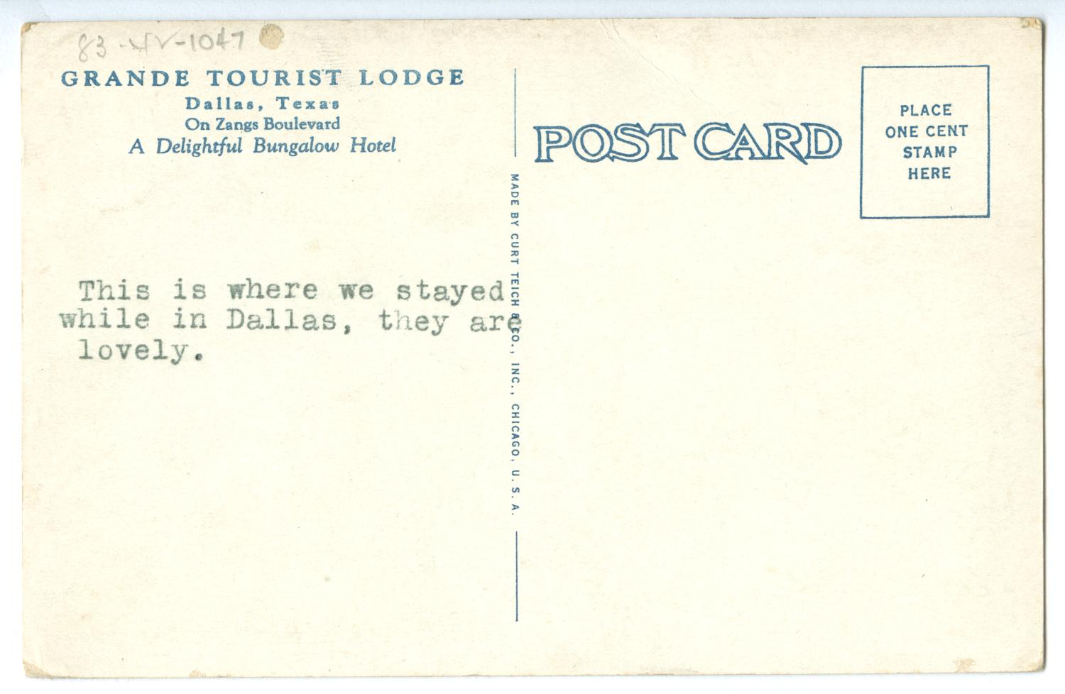 [Postcard of the Grand Tourist Lodge]                                                                                                      [Sequence #]: 2 of 2