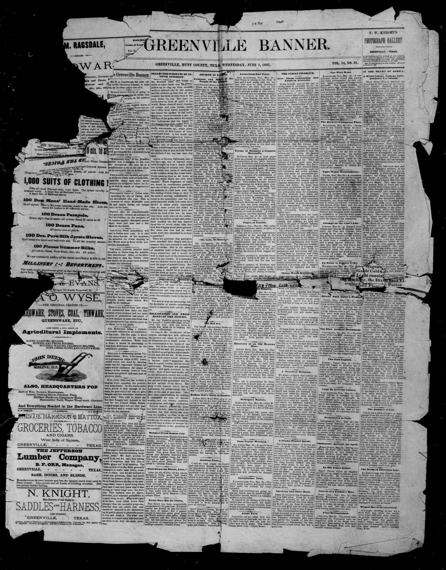 The Greenville Banner. (Greenville, Tex.), Vol. 13, No. 31, Ed. 1, Wednesday, June 1, 1887                                                                                                      [Sequence #]: 1 of 4