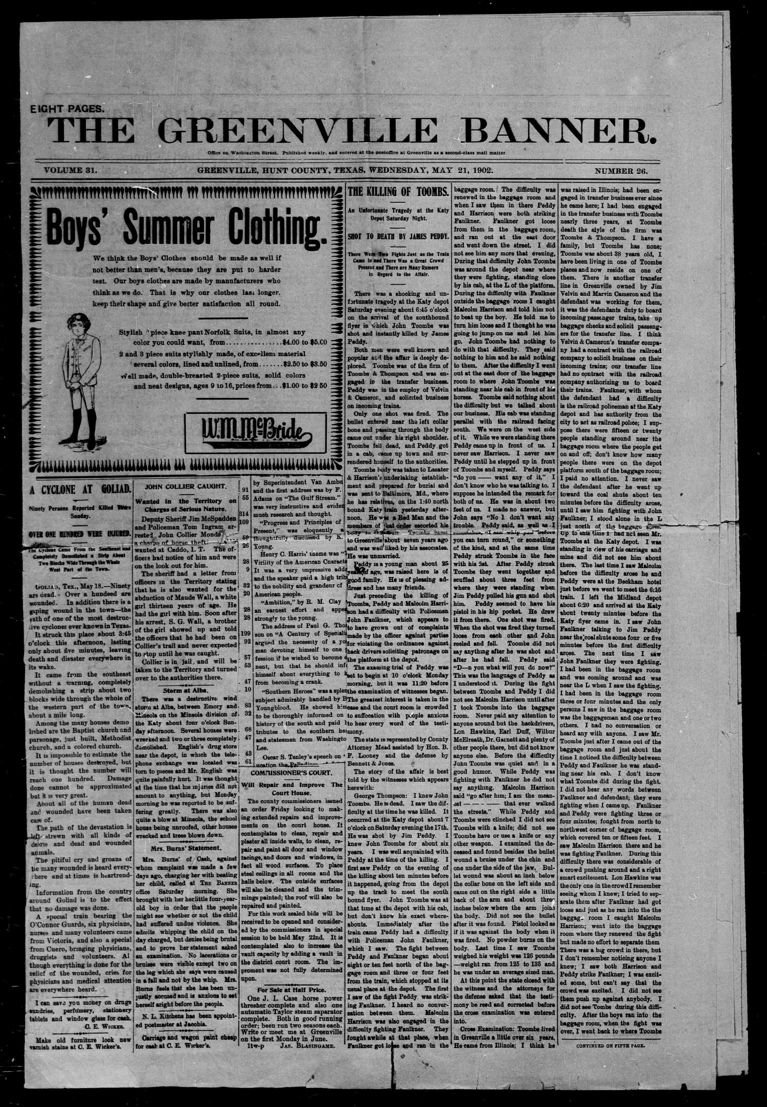 The Greenville Banner. (Greenville, Tex.), Vol. 31, No. 26, Ed. 1, Wednesday, May 21, 1902                                                                                                      [Sequence #]: 1 of 8