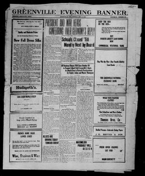 Primary view of object titled 'Greenville Evening Banner. (Greenville, Tex.), Vol. 25, No. 165, Ed. 1, Monday, October 14, 1918'.