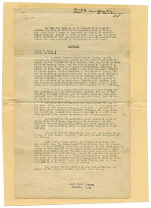 Primary view of object titled '[Contract Concerning Library Consolidation]'.