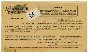 Primary view of object titled '[American Monthly Review of Reviews Receipt]'.