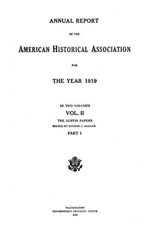 Primary view of object titled 'Annual Report of the American Historical Association for The Year 1919: In Two Volumes,  Volume 2, Part 1'.