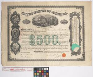 Primary view of object titled '[$500 Bond Issued June 28, 1866]'.