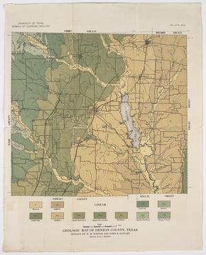Primary view of object titled 'Geologic Map of Denton County, Texas'.