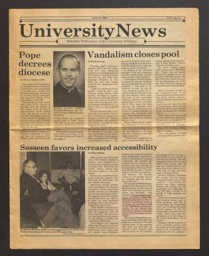 Primary view of object titled 'University News (Irving, Tex.), Vol. 6, No. 13, Ed. 1 Wednesday, April 13, 1983'.