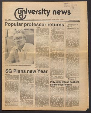 Primary view of object titled 'University News (Irving, Tex.), Vol. 5, No. 1, Ed. 1 Wednesday, September 16, 1981'.