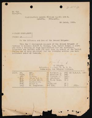 [Memo regarding Second Marine Brigade's change of command, 29 March, 1929]