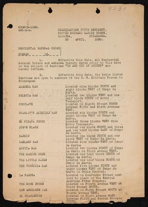 [General Order on Open Cantinas, Managua, 23 April 1929]