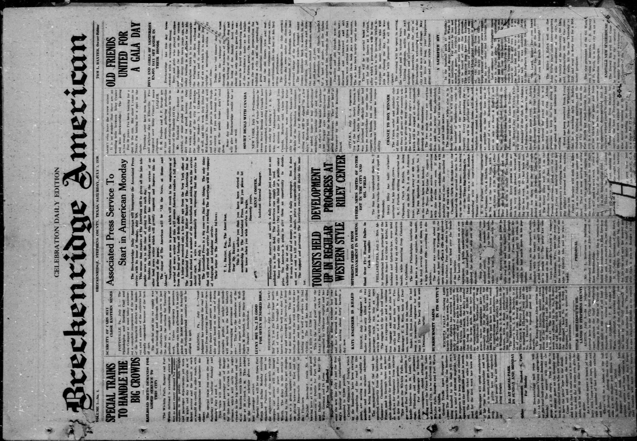 Breckenridge American (Breckenridge, Tex), Vol. 1, No. 4, Ed. 1, Saturday, July 3, 1920                                                                                                      [Sequence #]: 1 of 4