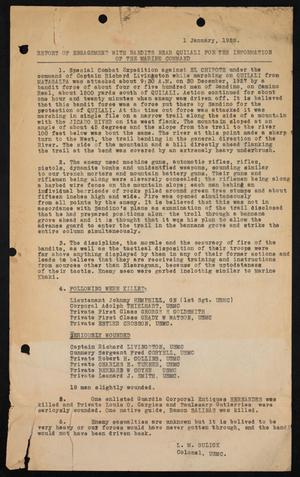 Report of Engagement with Bandits near Quilali for the Information of the Marine Command, 1 January, 1928