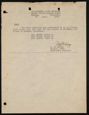 [Liberty Pass for George W. Stone, April 25, 1929]