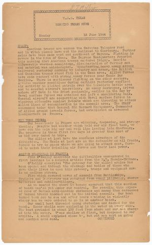 Primary view of object titled 'Morning Press News (U. S. S. Texas), Ed. 1 Monday, June 12, 1944'.