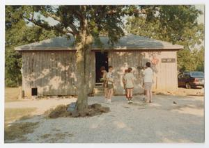 [Boys in Front of Troop 65 Scout Hut]