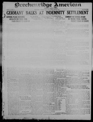 Primary view of object titled 'Breckenridge American (Breckenridge, Tex), Vol. 1, No. 185, Ed. 1, Tuesday, February 1, 1921'.