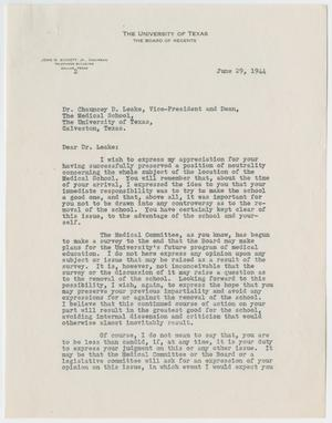[Letter from Judge John H. Bickett Jr. to Dr. Chauncey D. Leake, June 29, 1944]