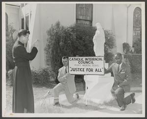 Men with Catholic Interracial Council Sign, La Vida News Collection