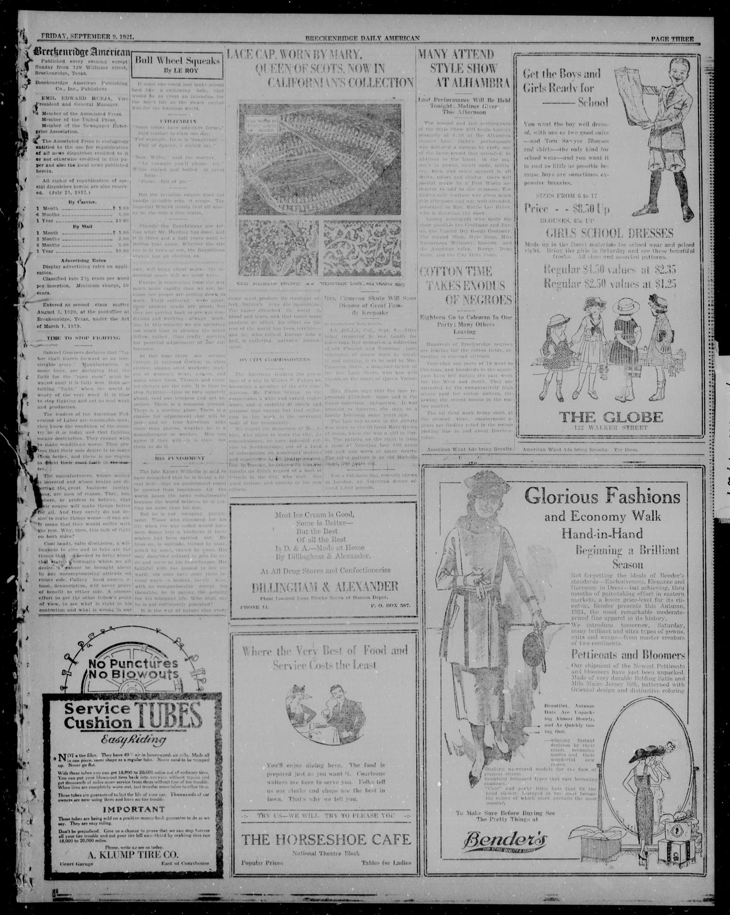 The Breckenridge Daily American (Breckenridge, Tex), Vol. 2, No. 62, Ed. 1, Friday, September 9, 1921                                                                                                      [Sequence #]: 3 of 6