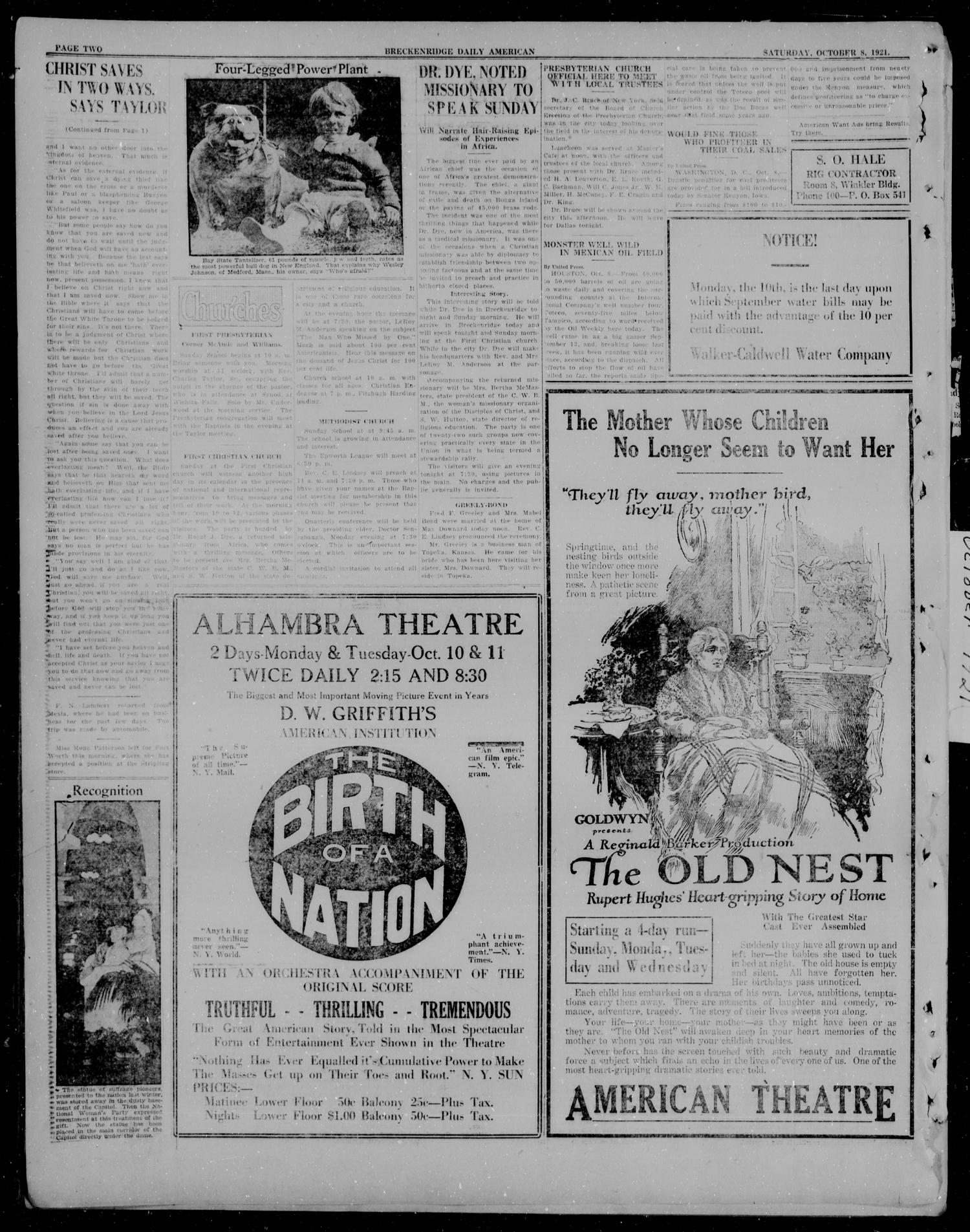 The Breckenridge Daily American (Breckenridge, Tex), Vol. 2, No. 87, Ed. 1, Saturday, October 8, 1921                                                                                                      [Sequence #]: 2 of 6