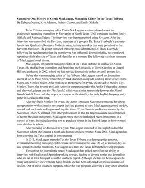 Summary: Oral History of Corrie MacLaggan, Managing Editor for the Texas Tribune