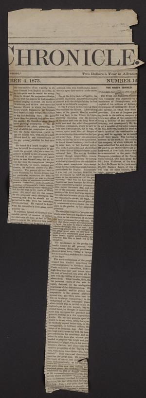 The Cleburne Chronicle. (Cleburne, Tex.), No. 12, Ed. 1 Thursday, December 4, 1873