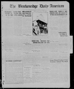 Primary view of object titled 'The Breckenridge Daily American (Breckenridge, Tex), Vol. 2, No. 278, Ed. 1, Sunday, May 21, 1922'.