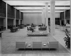 Empty Lobby with Desks