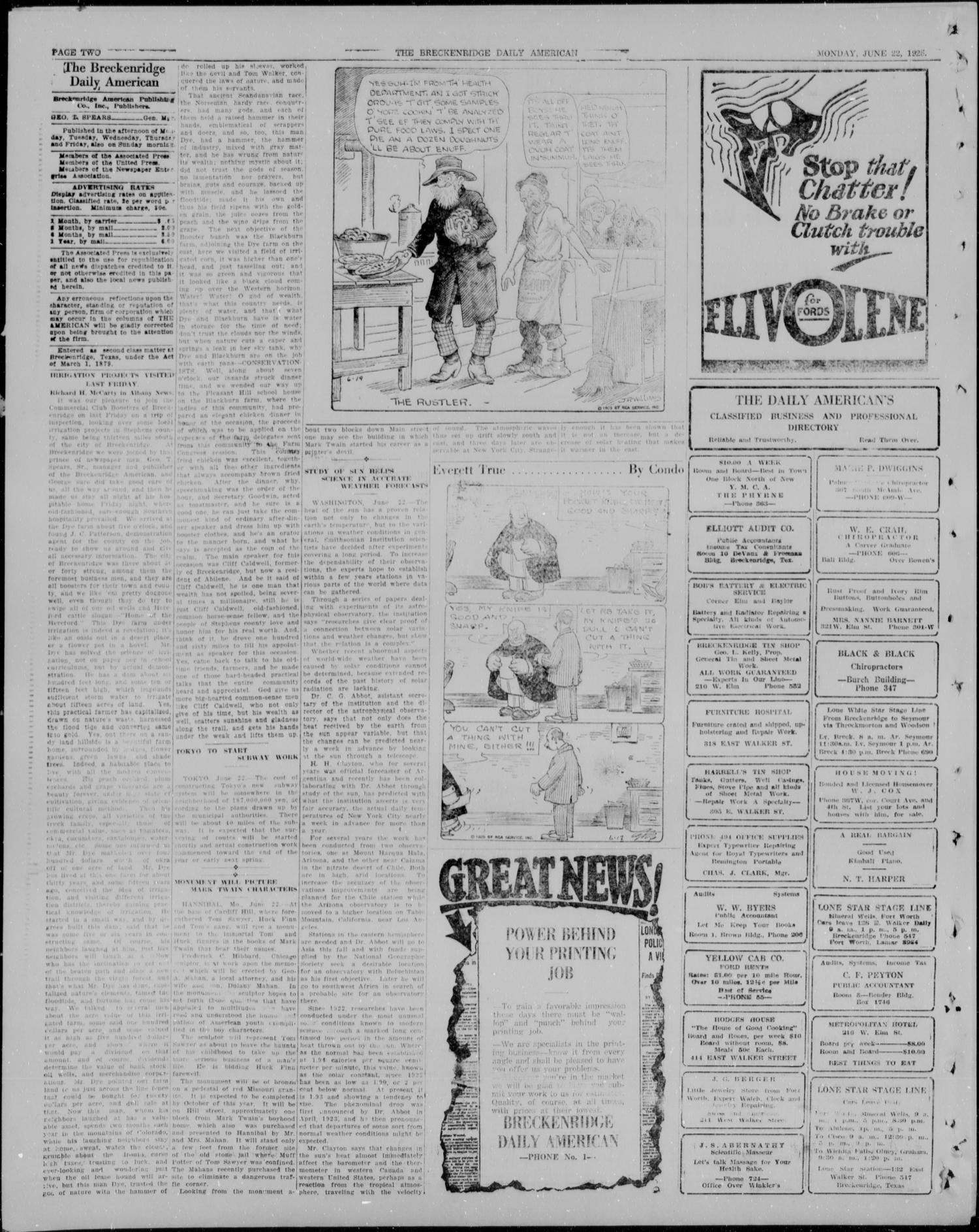 The Breckenridge Daily American (Breckenridge, Tex), Vol. 5, No. 302, Ed.  1, Monday, June 22, 1925 - Page 2 of 4 - The Portal to Texas History