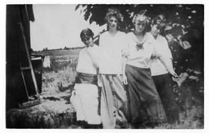 Primary view of object titled 'Allene Owens, Mary Taylor, Pauline Stiff, and Margaret (Peg) Bass at a Vineyard'.