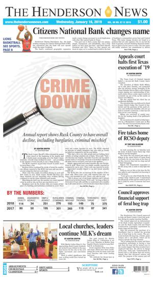 Primary view of The Henderson News (Henderson, Tex.), Vol. 89, No. 87, Ed. 1 Wednesday, January 16, 2019