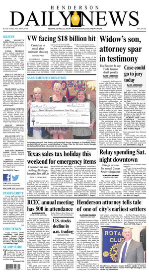 Primary view of Henderson Daily News (Henderson, Tex.), Vol. 87, No. 30, Ed. 1 Friday, April 22, 2016