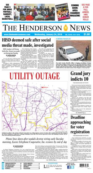 Primary view of The Henderson News (Henderson, Tex.), Vol. 88, No. 216, Ed. 1 Wednesday, January 24, 2018