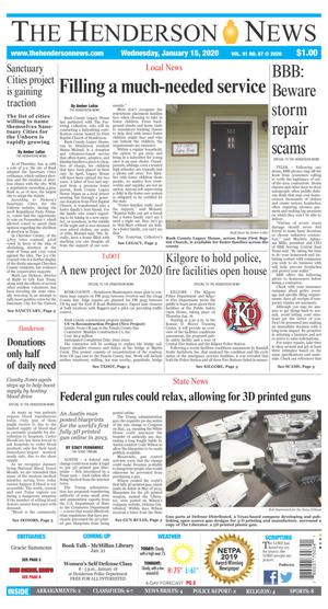 Primary view of The Henderson News (Henderson, Tex.), Vol. 91, No. 87, Ed. 1 Wednesday, January 15, 2020