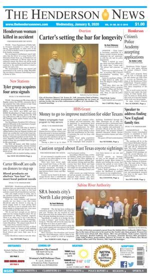 Primary view of The Henderson News (Henderson, Tex.), Vol. 91, No. 85, Ed. 1 Wednesday, January 8, 2020
