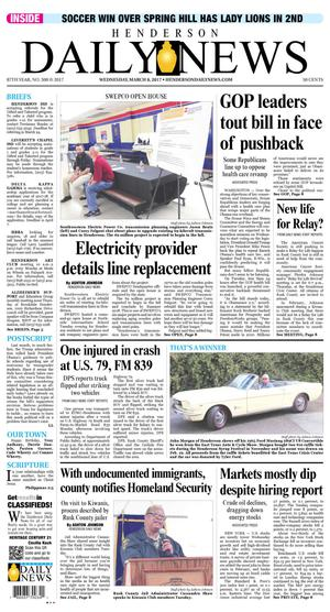 Primary view of Henderson Daily News (Henderson, Tex.), Vol. 87, No. 300, Ed. 1 Wednesday, March 8, 2017