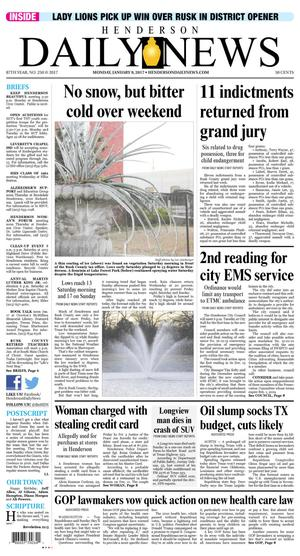 Primary view of Henderson Daily News (Henderson, Tex.), Vol. 87, No. 250, Ed. 1 Monday, January 9, 2017