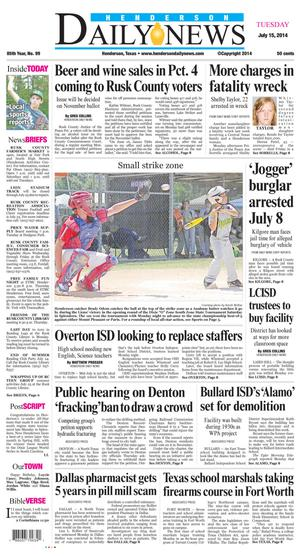Primary view of Henderson Daily News (Henderson, Tex.), Vol. 85, No. 99, Ed. 1 Tuesday, July 15, 2014