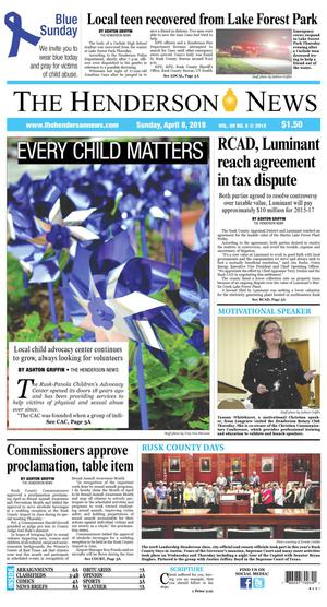 Primary view of The Henderson News (Henderson, Tex.), Vol. 89, No. 6, Ed. 1 Sunday, April 8, 2018