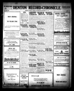 Primary view of Denton Record-Chronicle. (Denton, Tex.), Vol. 19, No. 114, Ed. 1 Tuesday, December 24, 1918