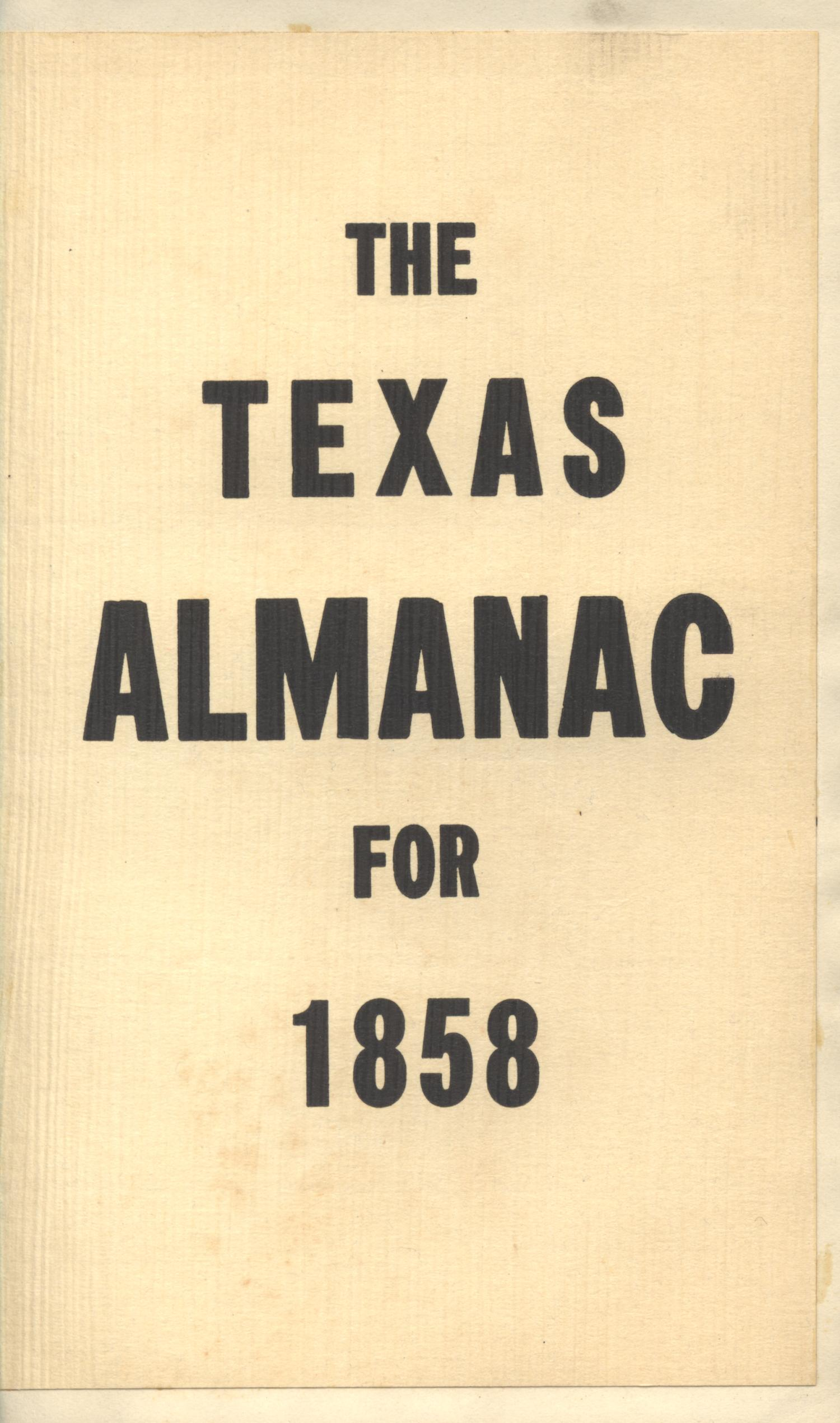 The Texas Almanac for 1858                                                                                                      Front Cover